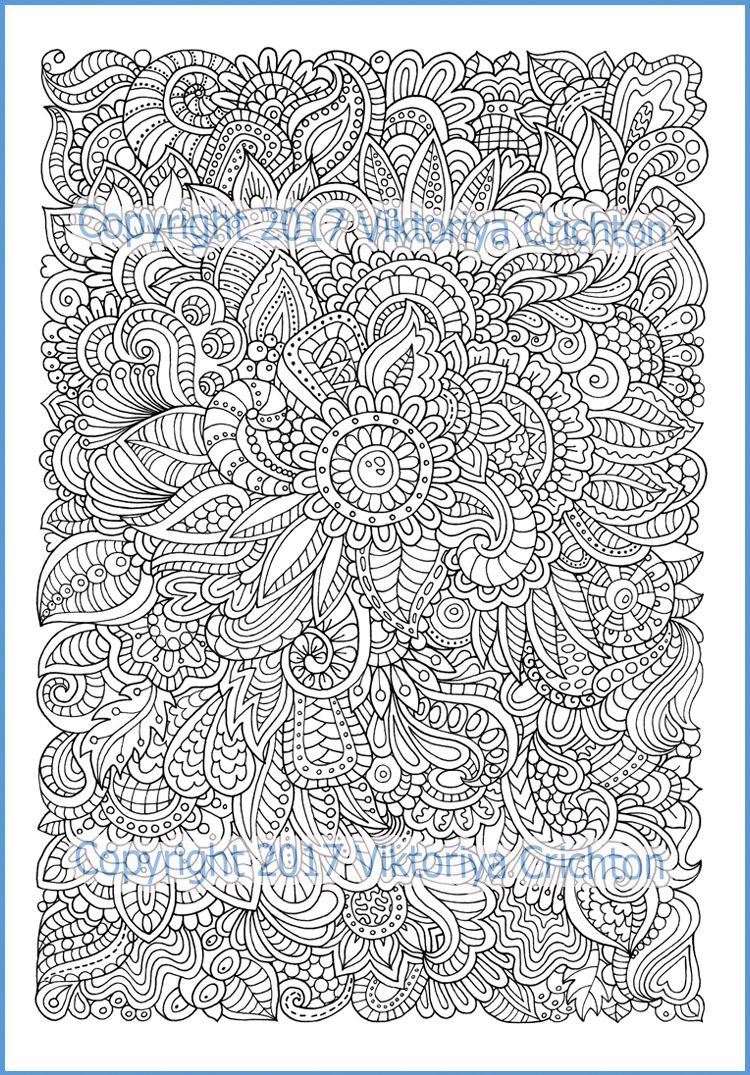 Coloring Pages For Adults Doodle Flowers Graphic Hand Made Printable Pdf Zentangle Inspired Doodling Intr Zentangle Pattern Coloring Pages Coloring Pages