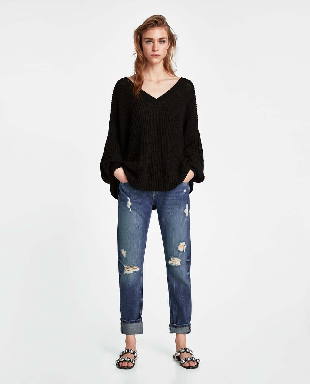 5a2c2298 Image 1 of Z1975 JEANS WITH TURN-UP HEMS AND SIDE TAPING from Zara ...