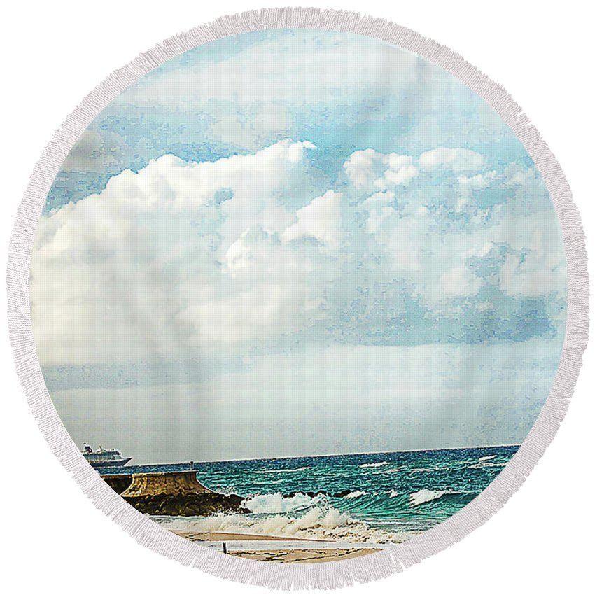 Round Beach Towel - Cruising Along In The Bahamas
