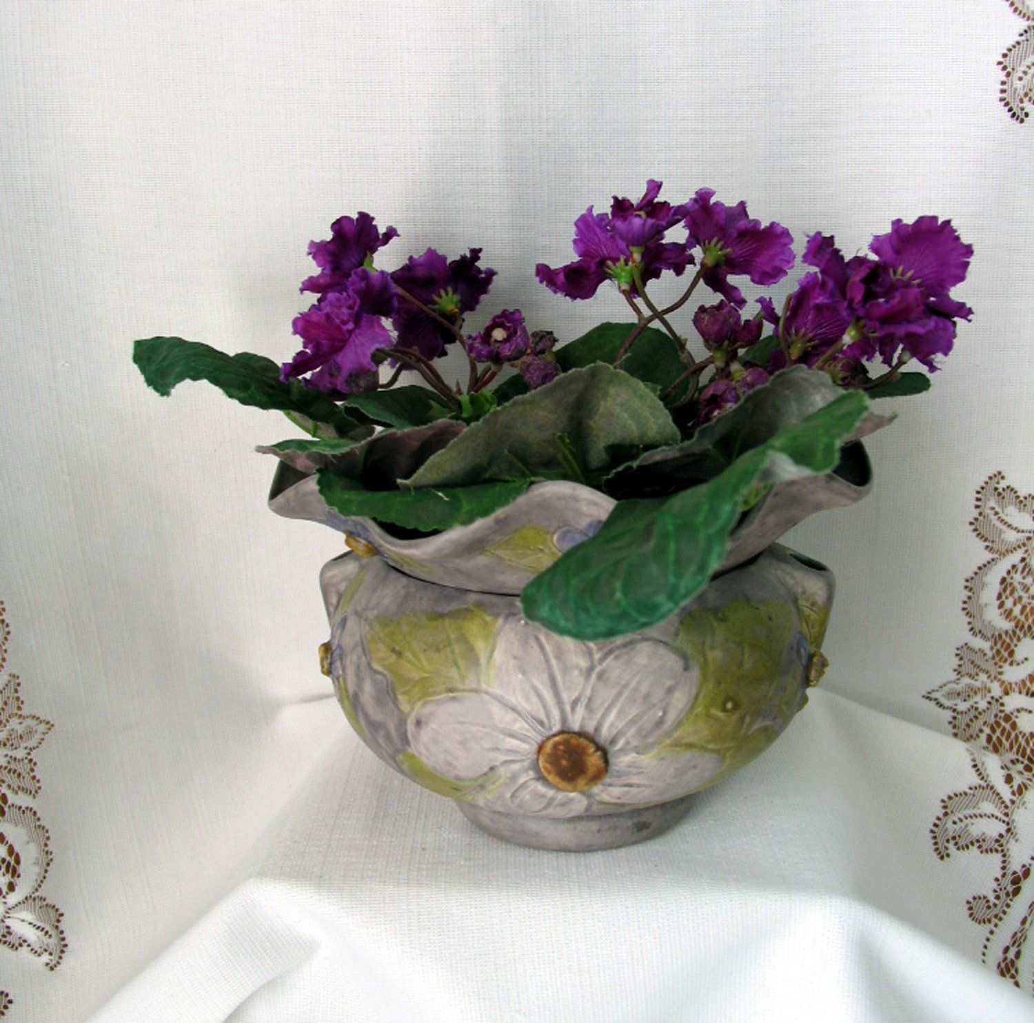 African violet ceramic planter self watering two piece