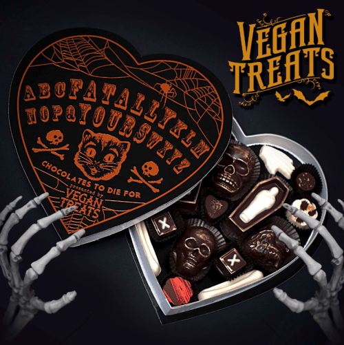 Vegan Treats Has Made A Special Edition Of Their Fatally Yours Vegan Chocolate Box Packaged In A Black And Orang Heart Shaped Candy Chocolate Box Vegan Treats