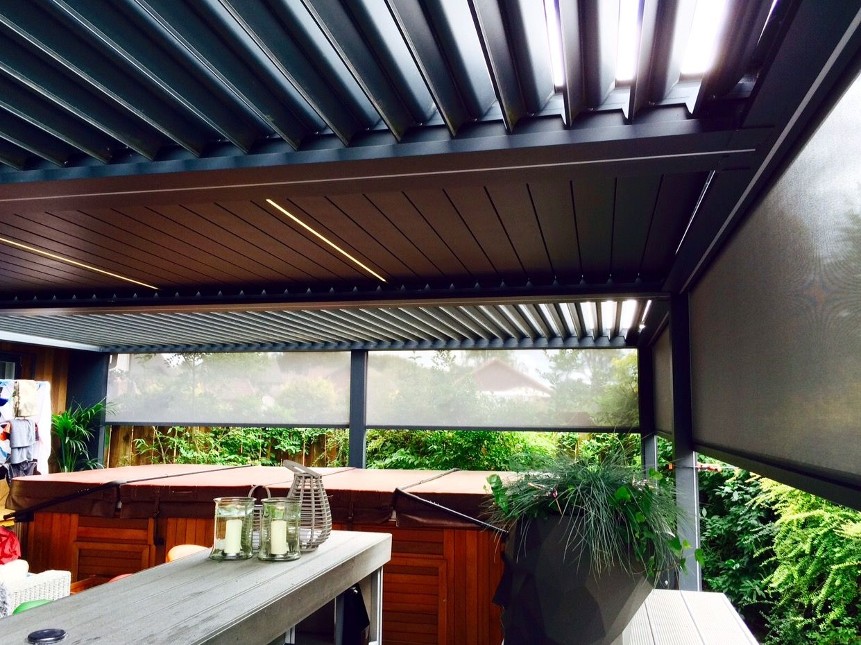 dual colour outdoor living pod louvered roof patio canopy