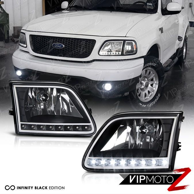 1997 2002 Ford Expedition 97 03 Ford F150 Black Crystal Led Front Headlights Ford Expedition Ford F150 Ford F150 Accessories