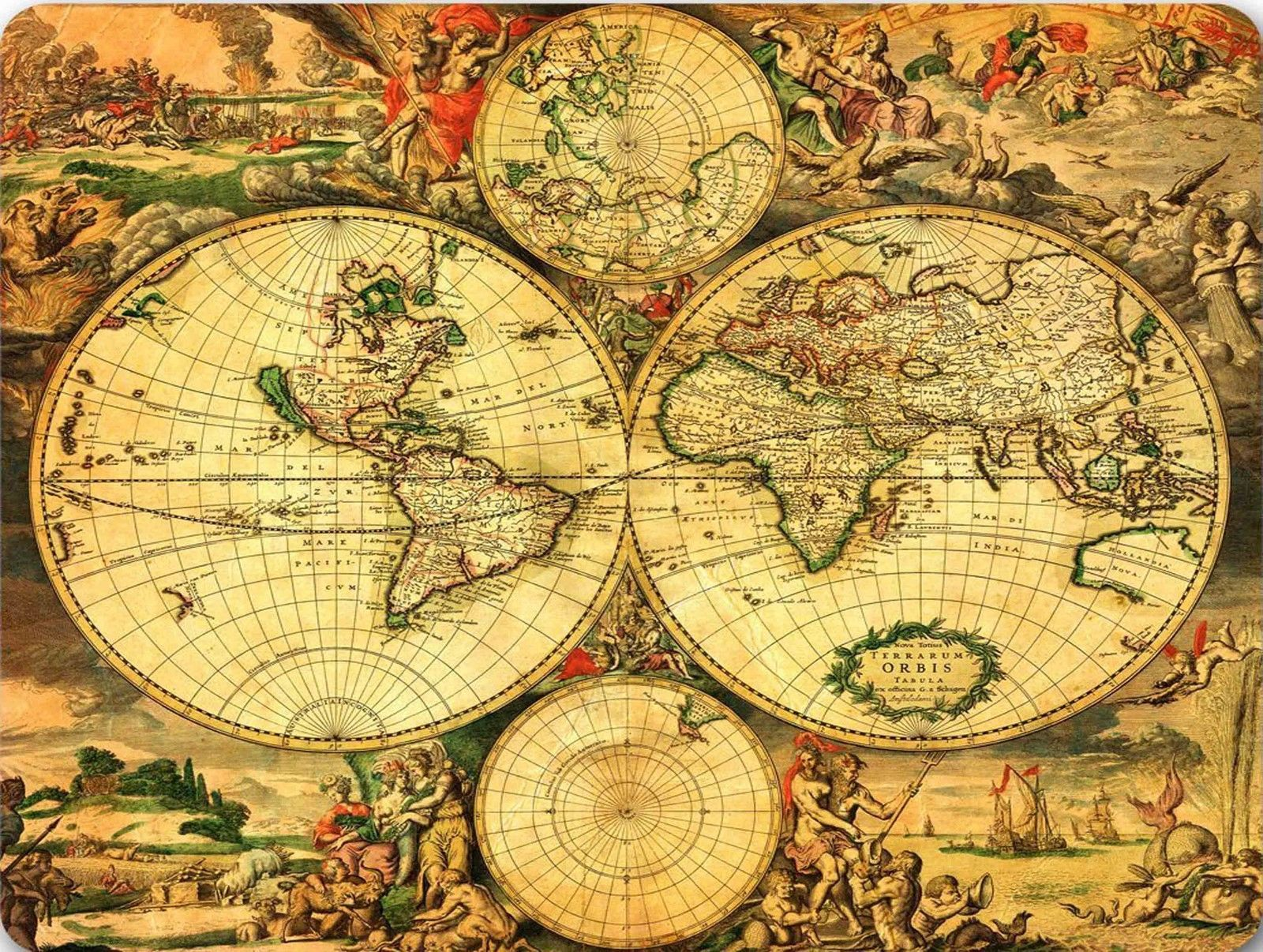 6 49 GBP Vintage World Map Quality Mouse Mat Pad ebay