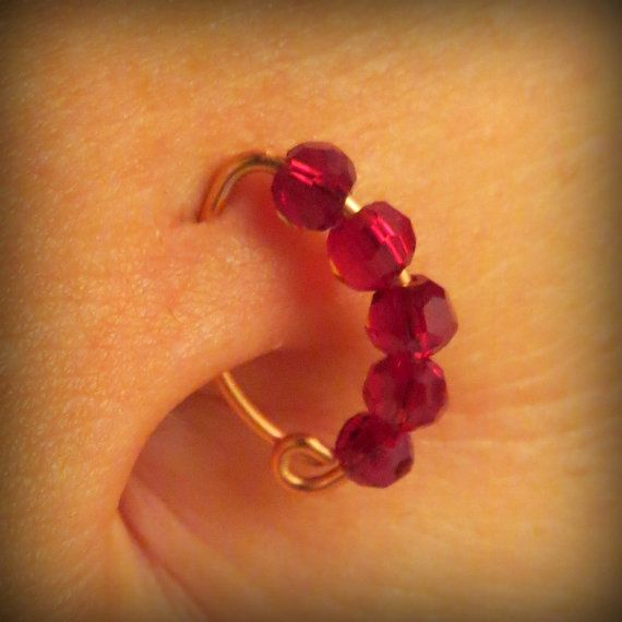 14k Gold Ruby Belly Button Ring By Zengem On Etsy 35 00