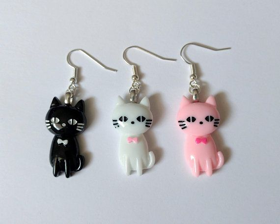 dapper cat earrings kawaii jewelry kawaii earrings fairy kei jewelry decora kei pop kei decora