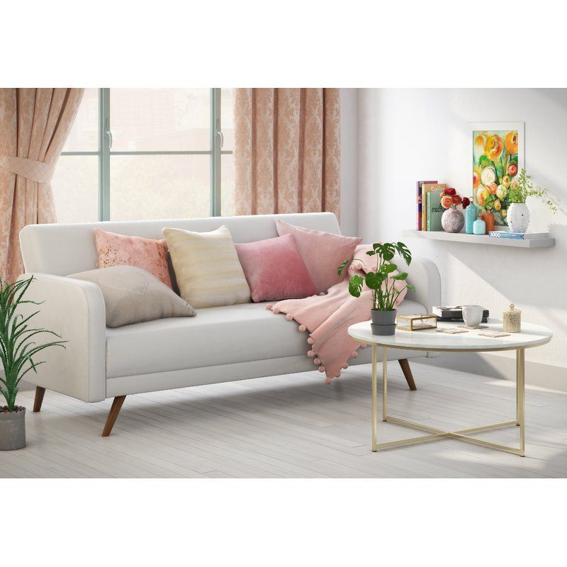 3 Seater Sofa Bed White Faux Leather Foam Cushion Seats Living Room