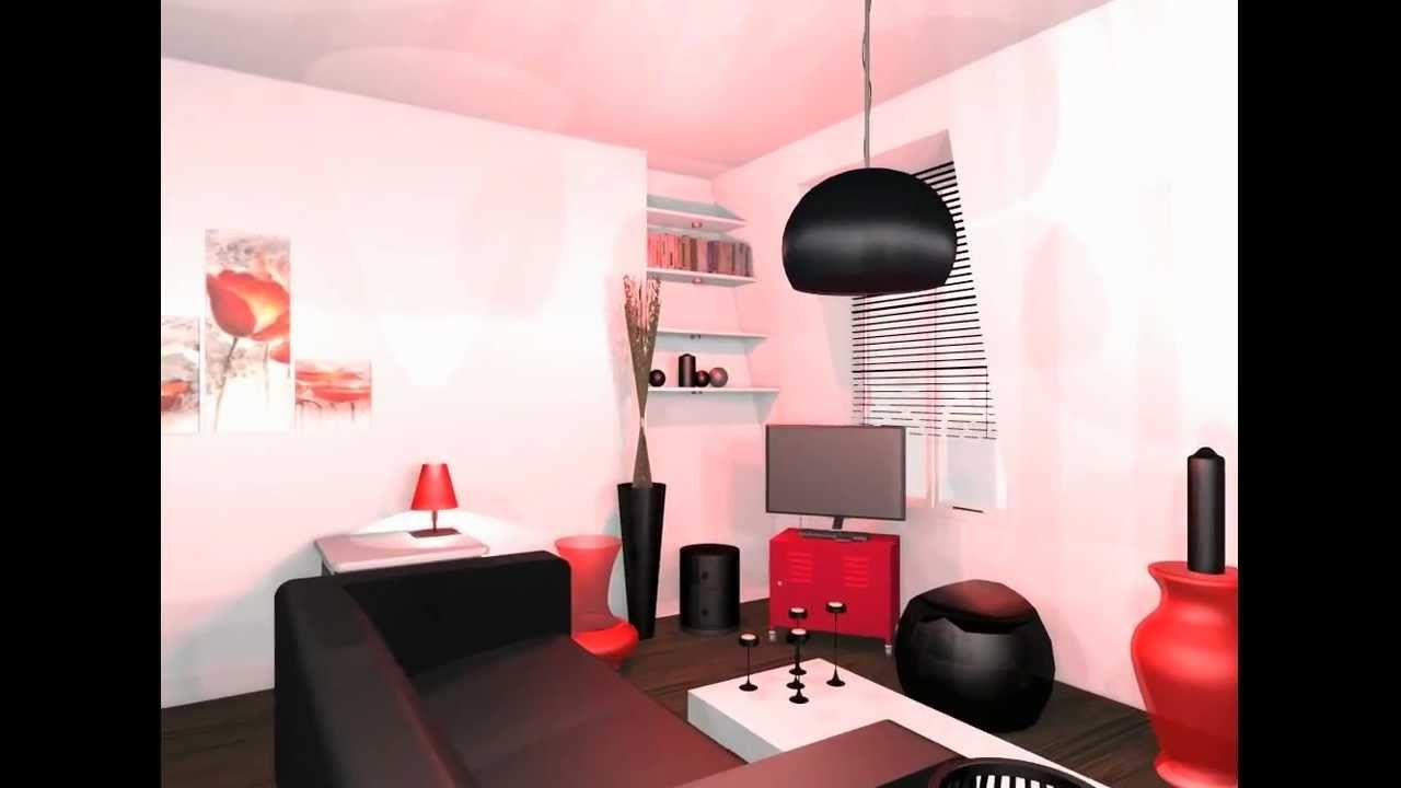 intérieur rouge et blanc  décoration salon noir et blanc rouge
