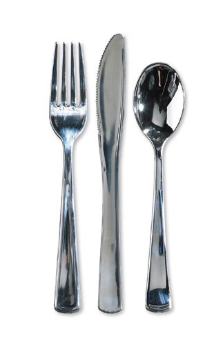 Metallic Plastic Silverware Assorted ($43.95 for 100 of