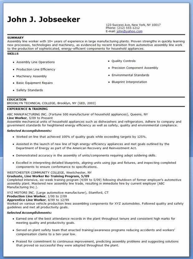 Awesome Professional Assembly Line Worker Resume To Make You Stand Out Check More At Http Snefci Org Pro Line Worker Job Resume Samples Good Resume Examples