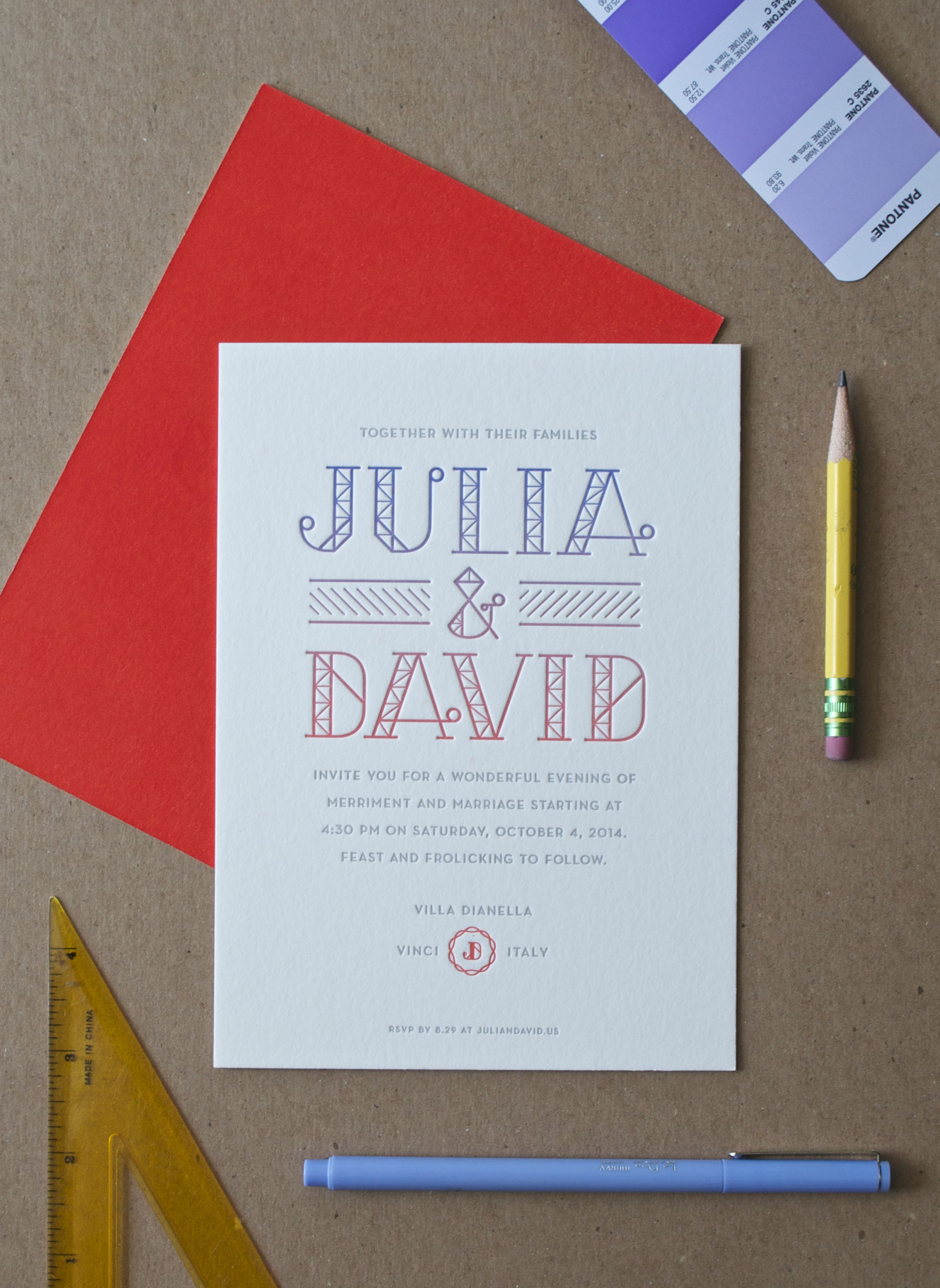 Two color wedding invitation with a split fountain gradient and a ...