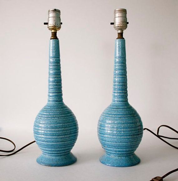 Mid Century Modern Ceramic Beehive Lamp Pair // Atomic Blue Pottery Lamps