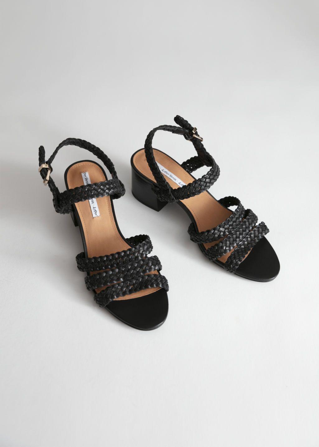 36f47ab1832 Braided Trio Strap Heeled Sandals in 2019 | clothing | Strap heels ...