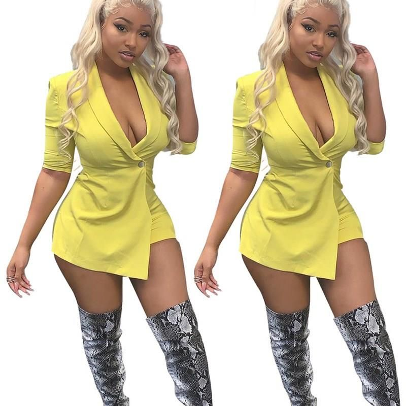 Women/'s Long Sleeve Solid Hollow Out Release Buckle Club Short Bodycon Jumpsuit