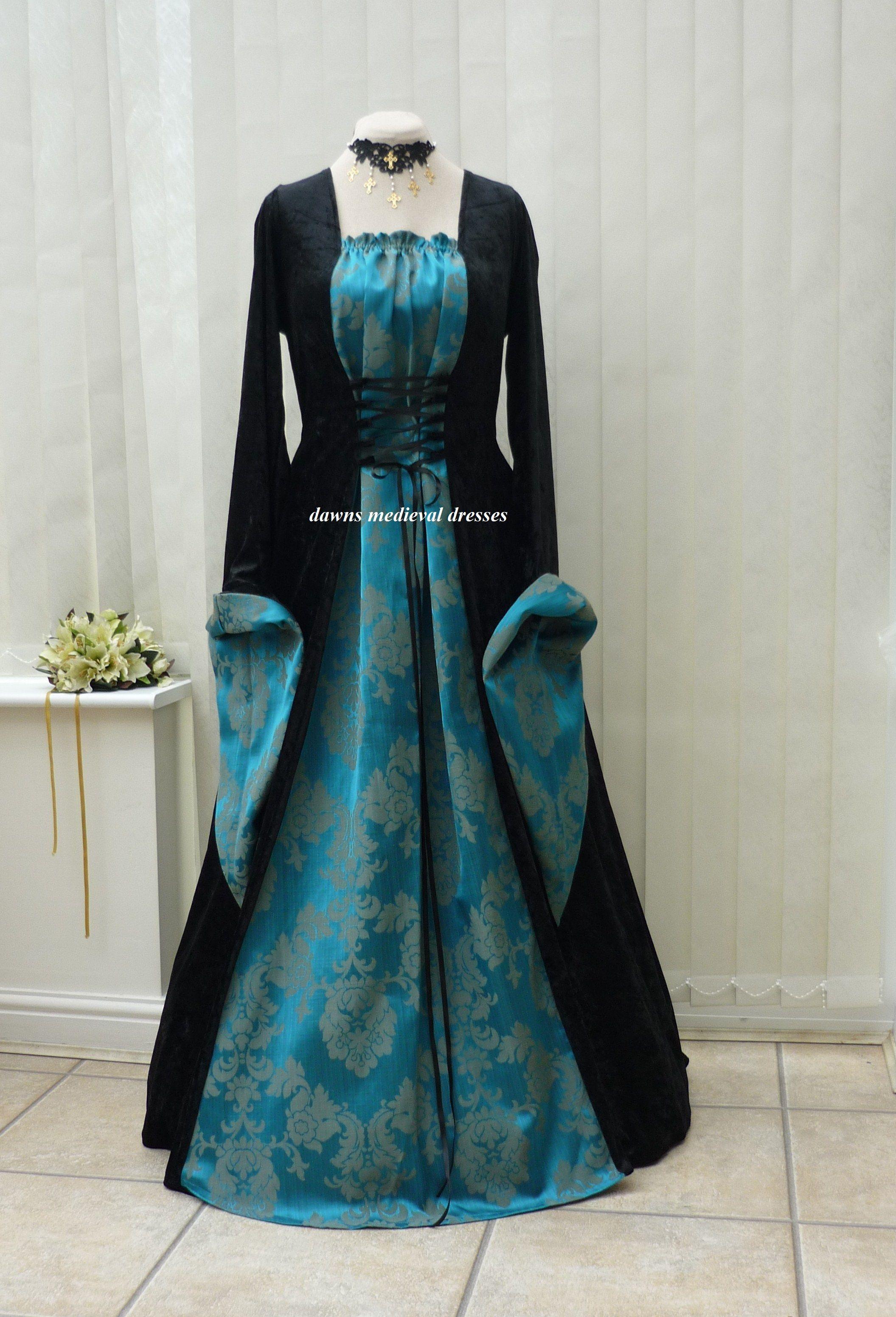 Medieval Gothic Black Teal Blue Dress | Gowns | Pinterest | Teal ...