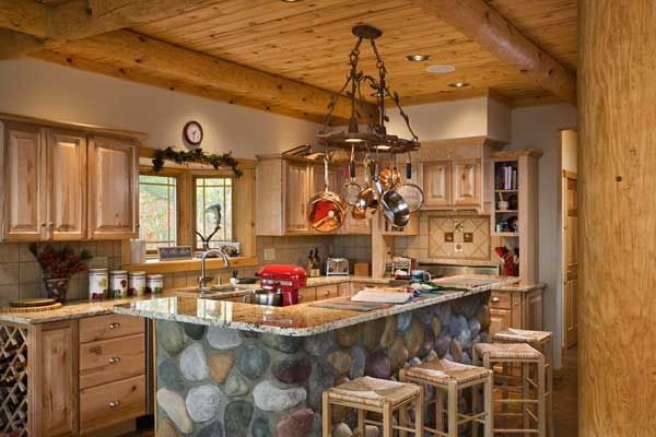 The walshes 39 efficient kitchen features rustic hickory for Cabin kitchen backsplash ideas