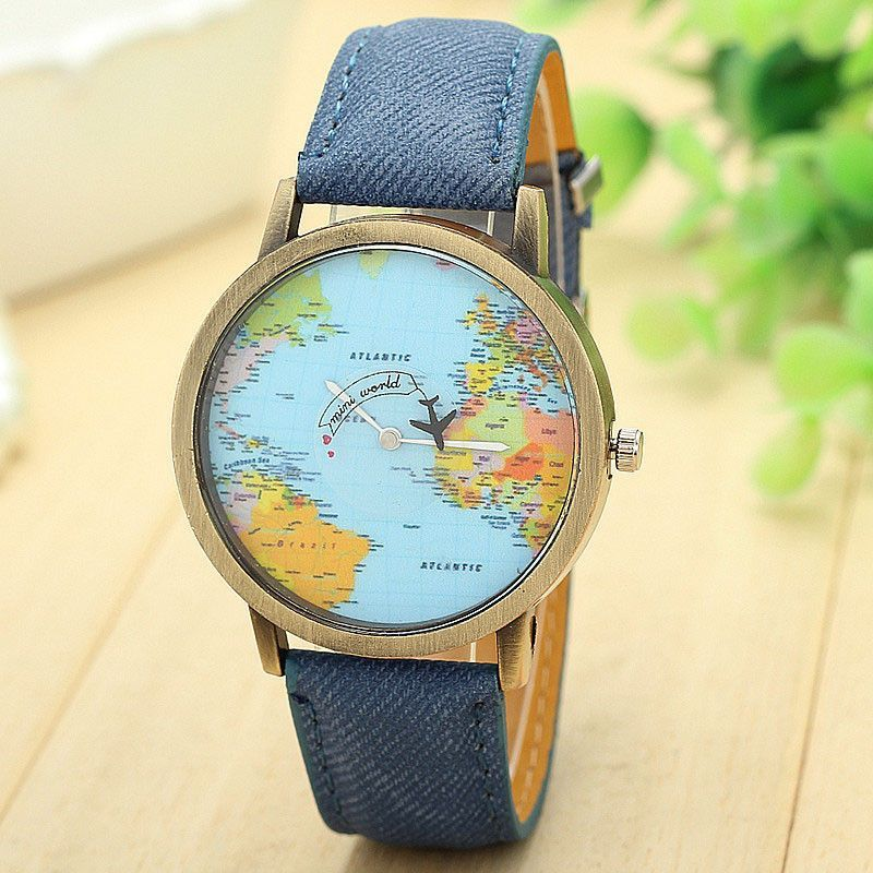 Stylish Mini World Map Travelers Watch