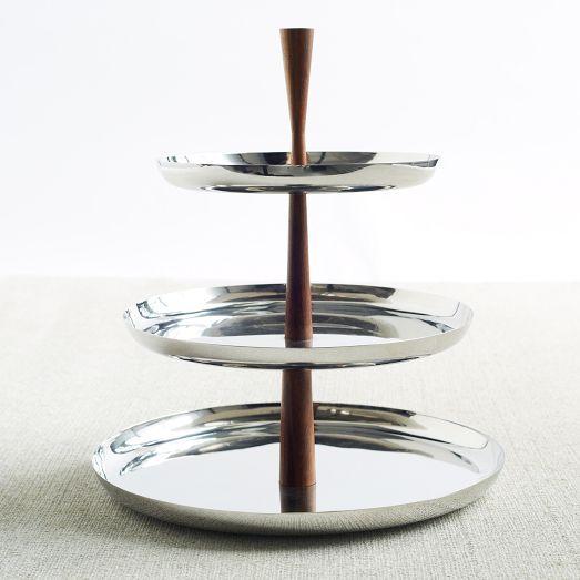 Mid Century Modern Stainless Steel Wood 3 Tiered Dessert Stand Tiered Dessert Tray Modern Serveware Dessert Tray