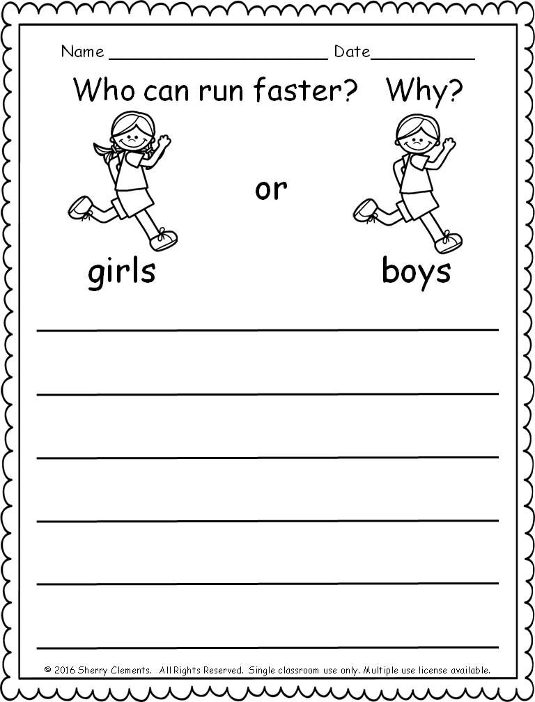 Kindergarten Literacy And Math Freebie Kindergarten Writing Prompts Opinion Writing Kindergarten Writing