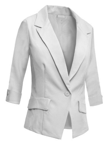LE3NO Womens Fitted 3/4 Sleeve Blazer Jacket $25.89
