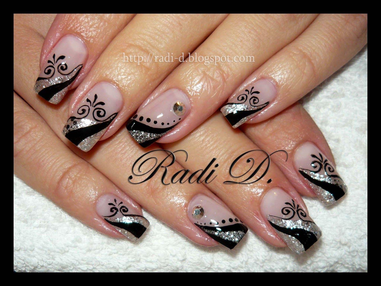 Black pink silver pattern mani gel n gel - Pinterest nageldesign ...