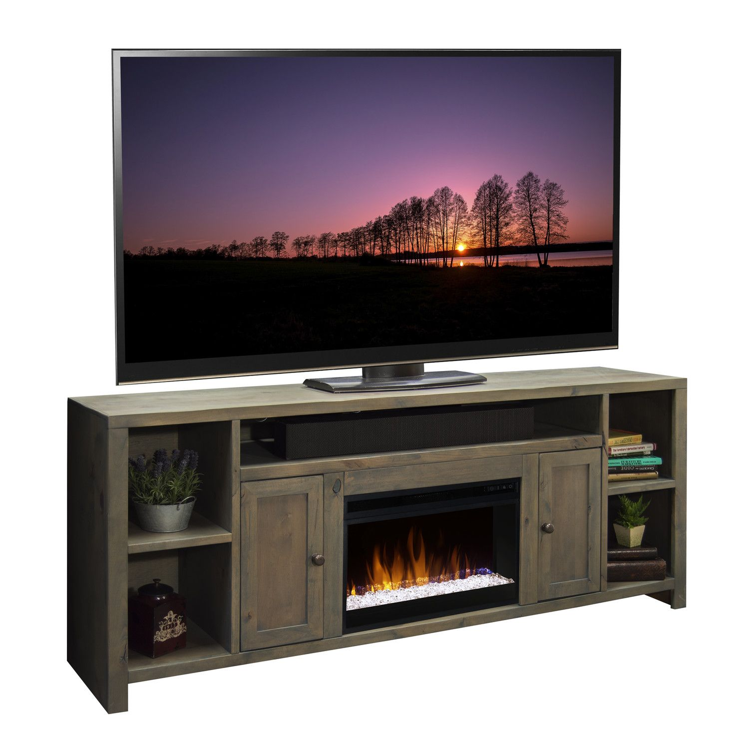 Hokku Designs TV Stand with Electric Fireplace