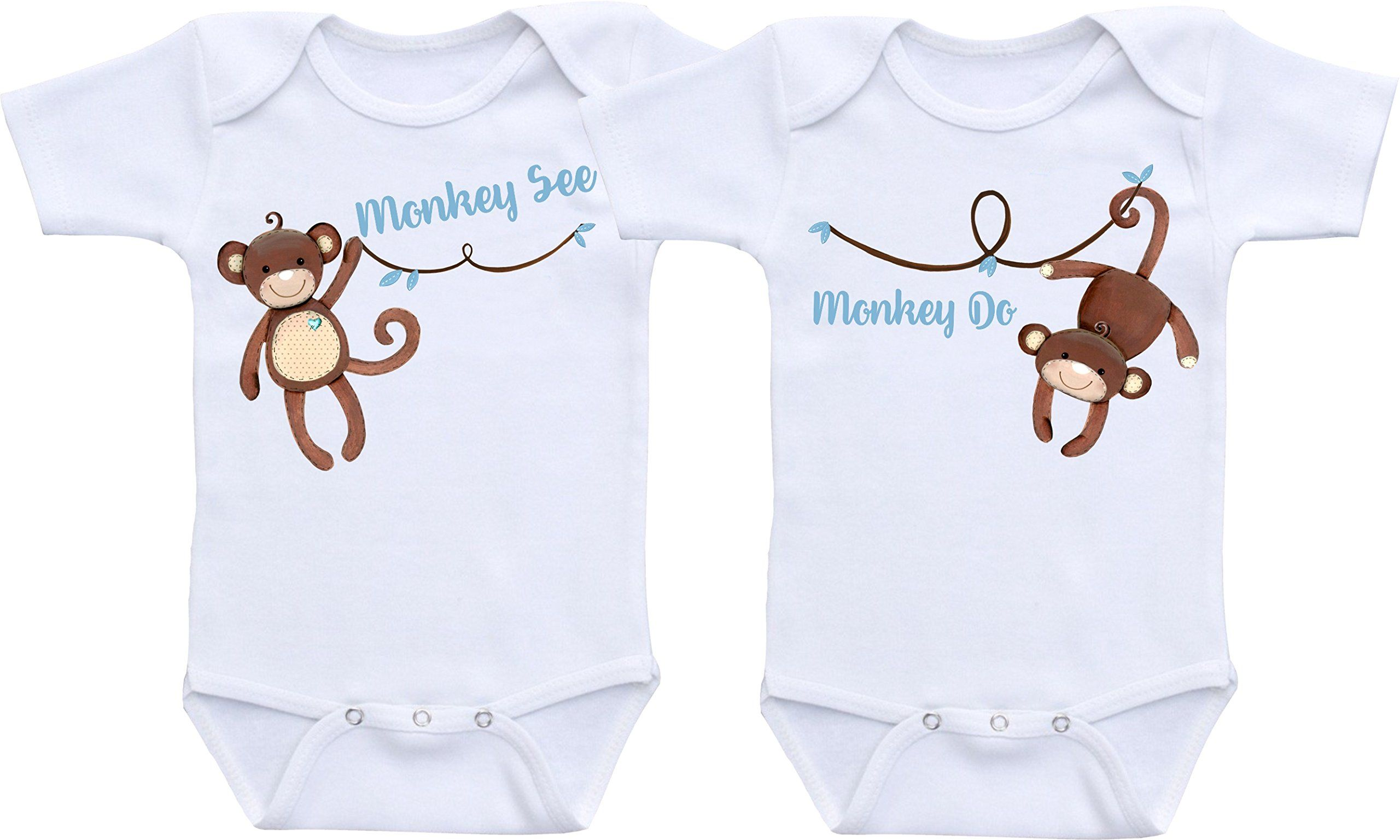 Monkey See Monkey Do Twin Bodysuit Twin Outfit Sets Gender Neutral
