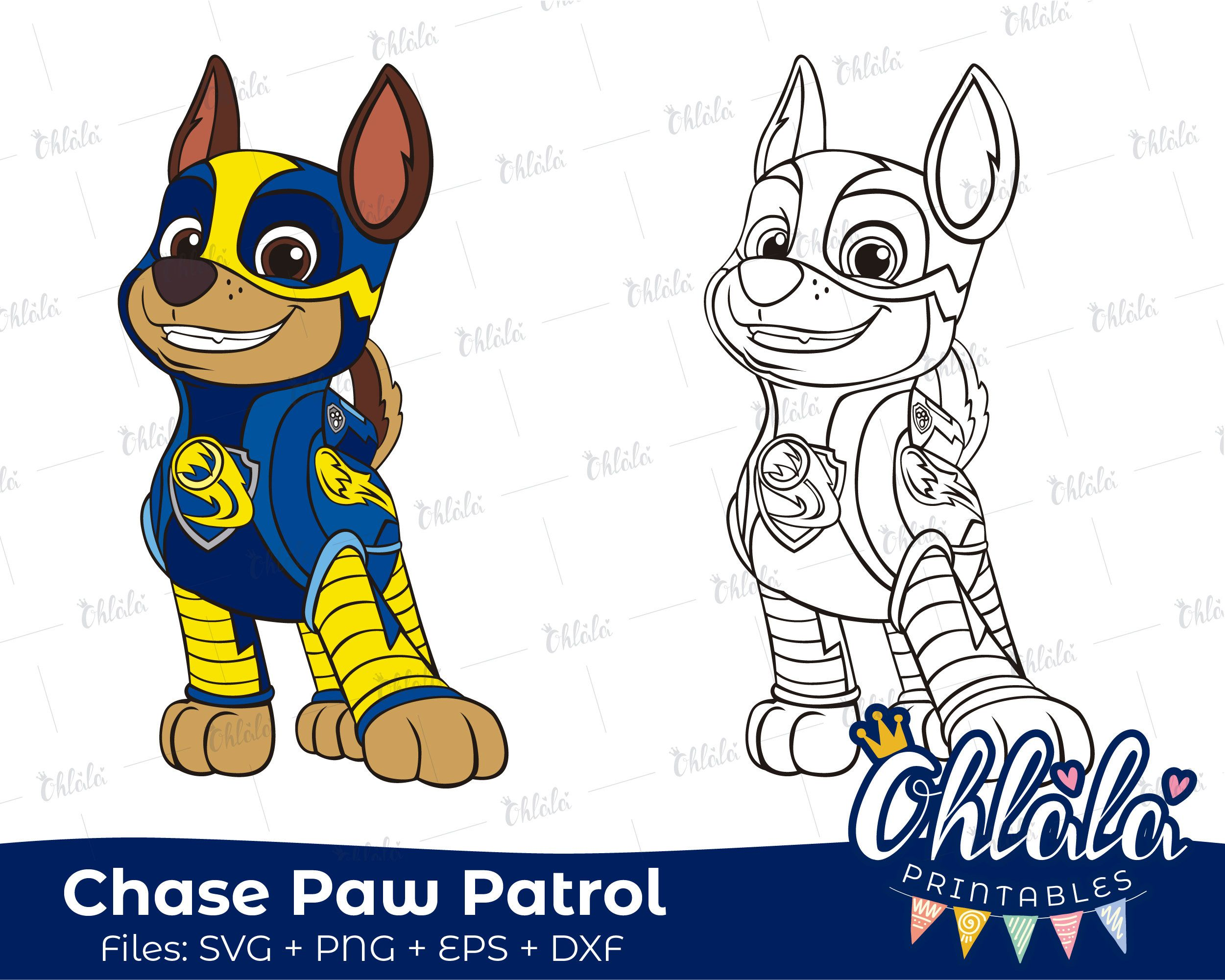 Chase Paw Patrol Mighty Pups Clipart Character Movie SVG