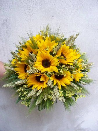 Composizioni Fiori Matrimonio Girasoli : Bouquet di girasoli spighe e statice bridal bouquets and other in