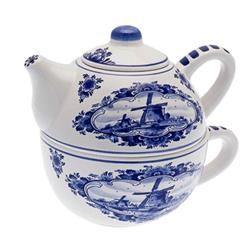 Delftsblauwe Theepot ... tea for one stacking teaset (teapot and mug) in Delft blue and white, with Dutch windmill design, possible souvenir item, ceramic, Holland?
