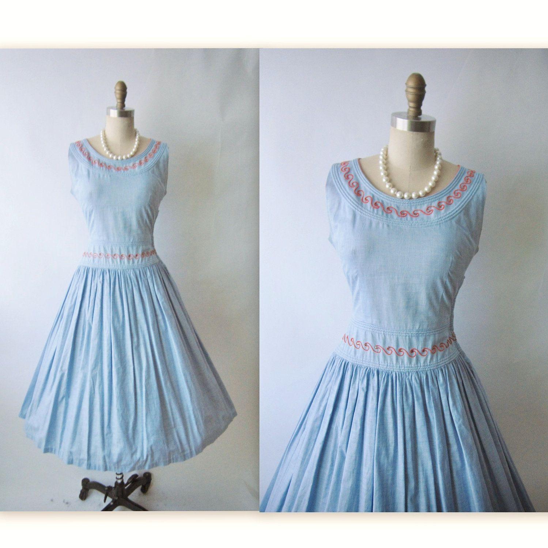 50\'s Chambray Cotton Dress // Vintage 1950\'s Blue Chambray Cotton ...