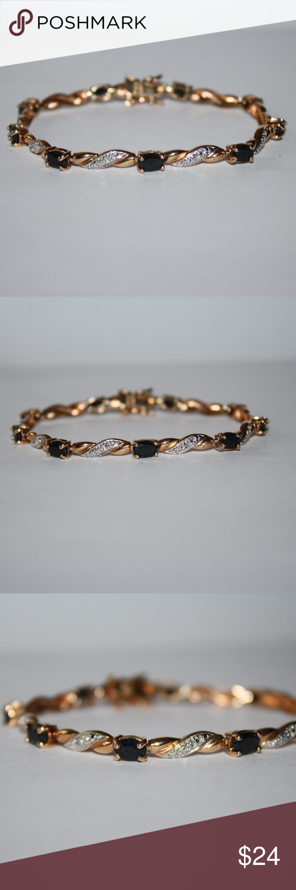 Sterling silver gold sapphire bracelet inches free gifts