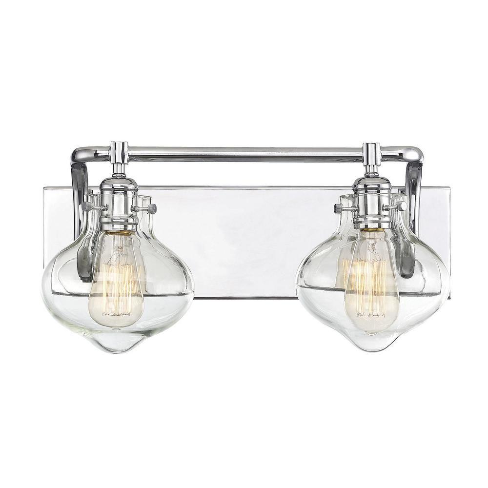 Filament Design 2 Light Polished Chrome Bath Light With Clear Glass Cli Sh268311 Bathroom Light Fixtures Bath Light Vanity Lighting