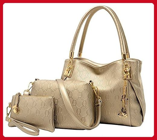Vincico Womens Fashion Flexo Butterfly Pendant 3 Pieces Shoulder Bags(Gold) - Shoulder bags (*Amazon Partner-Link)