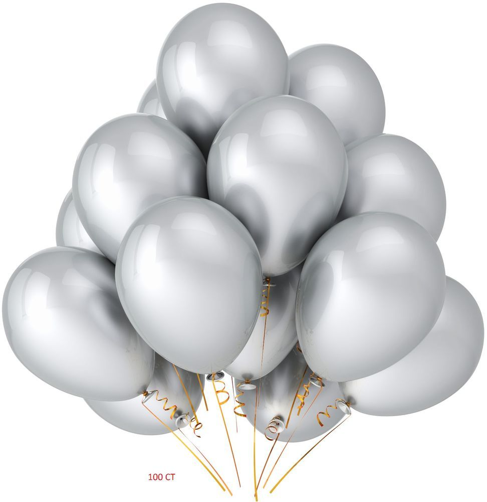 hight resolution of silver latex balloon bouquet