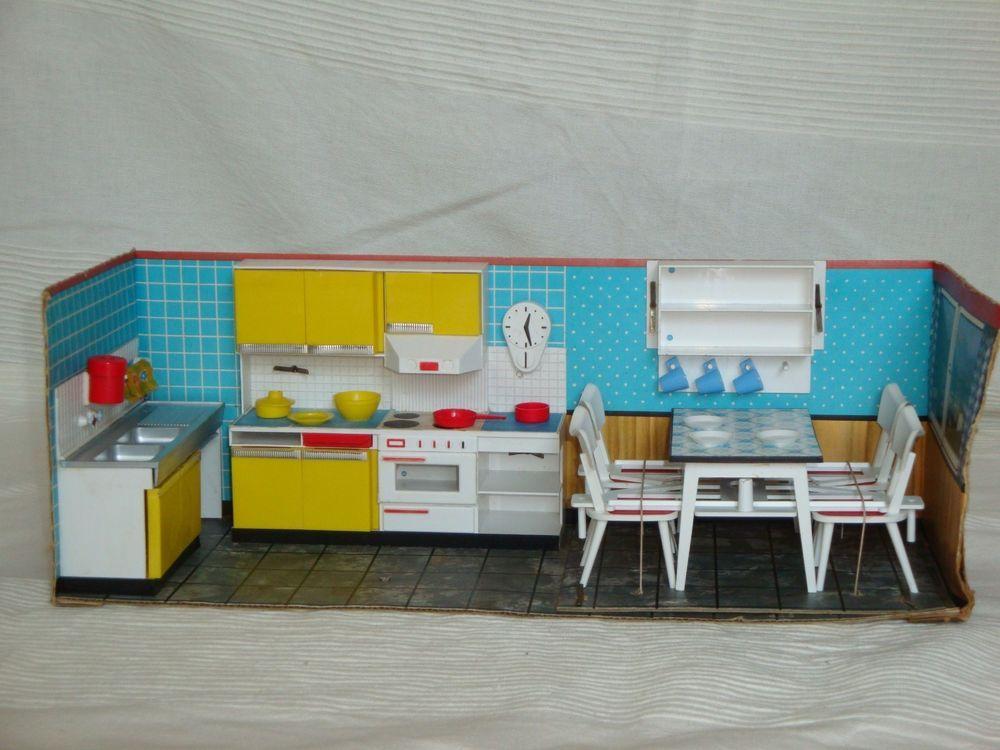 2 3 modella k che puppen stube haus m bel zubeh r 60er 70er jahre retro toys puppen. Black Bedroom Furniture Sets. Home Design Ideas