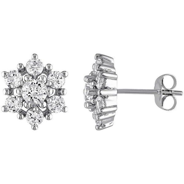 Lab-Created White Sapphire 10k White Gold Flower Stud Earrings ($875) ❤ liked on Polyvore featuring jewelry, earrings, white, floral earrings, white gold jewelry, stud earring set, white gold earrings and flower earrings