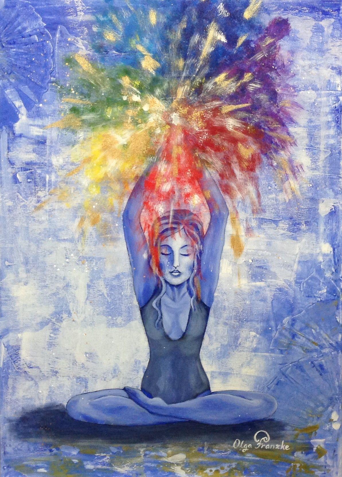 Yoga, painting, Color, Meditation, Blue, acrylpaint, Acryl
