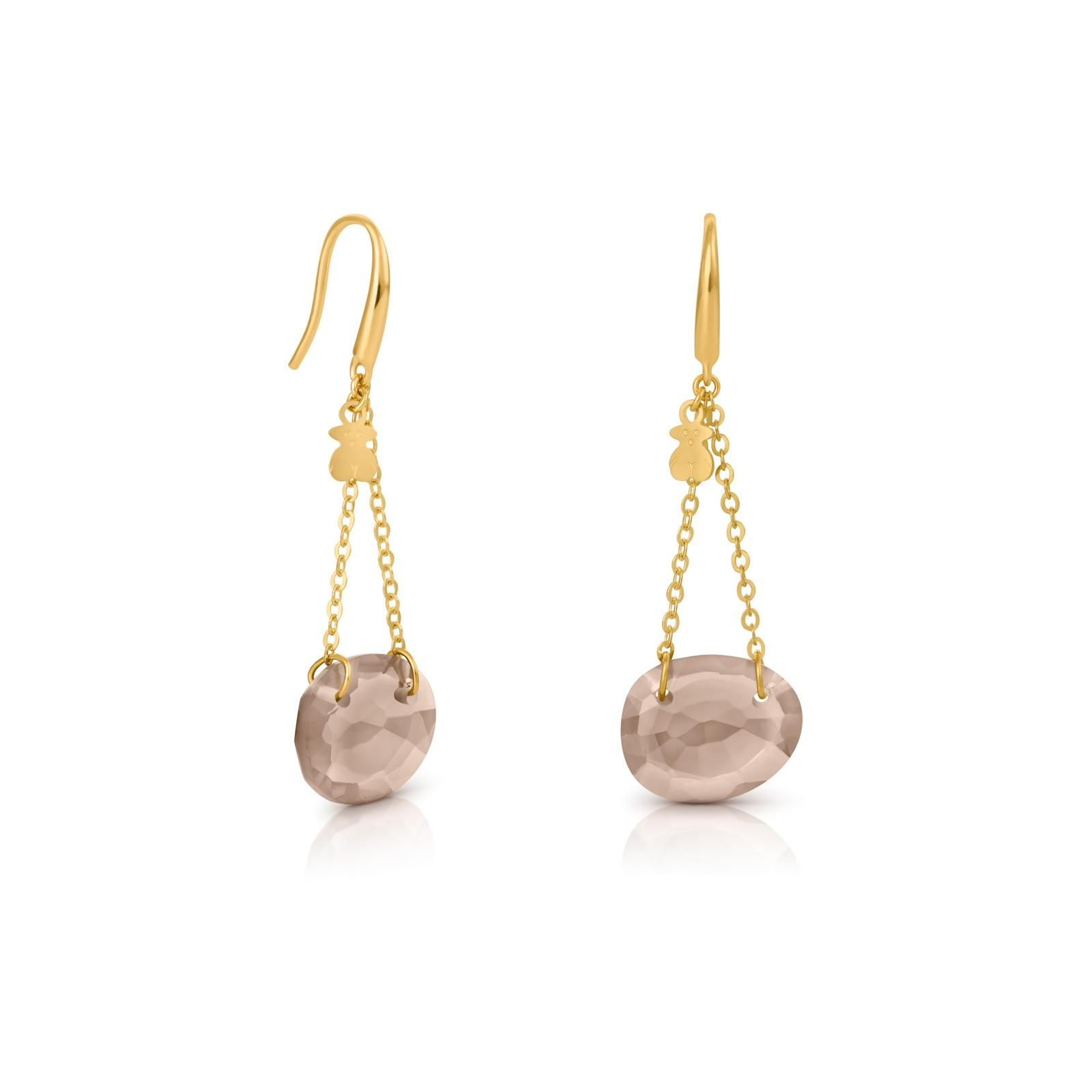 18kt yellow gold TOUS Tesoro earrings with smoked quartz 1 4cm x