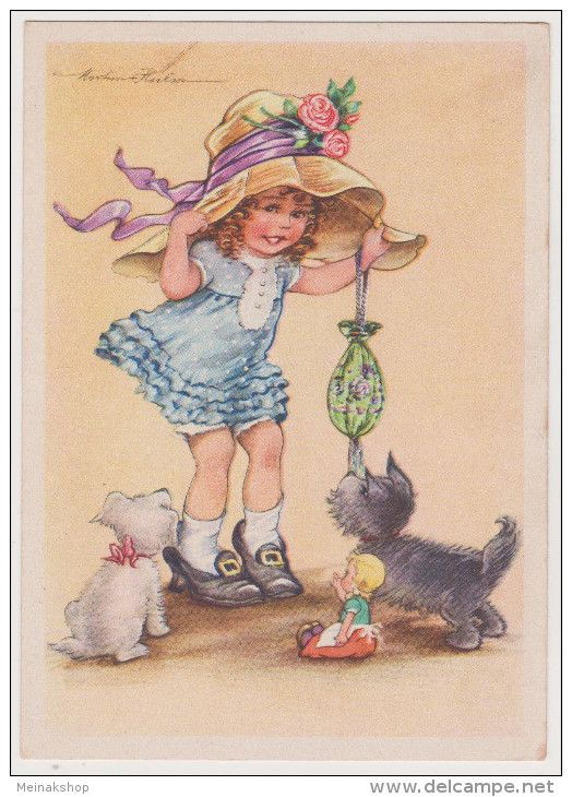 Mädchen, Hut, Hunde,  Künstlerkarte, C. Warnecke, Halle Saale