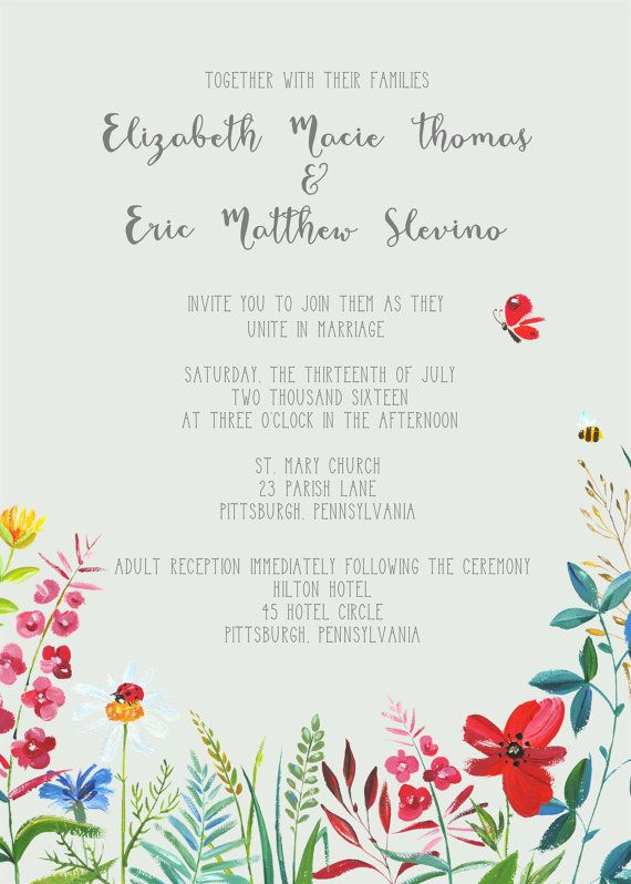 The Wildflower Wedding Invitation Set Is Perfect For A Spring Summer Rustic Or Outdoor It Has Gray Background With Wildflowers