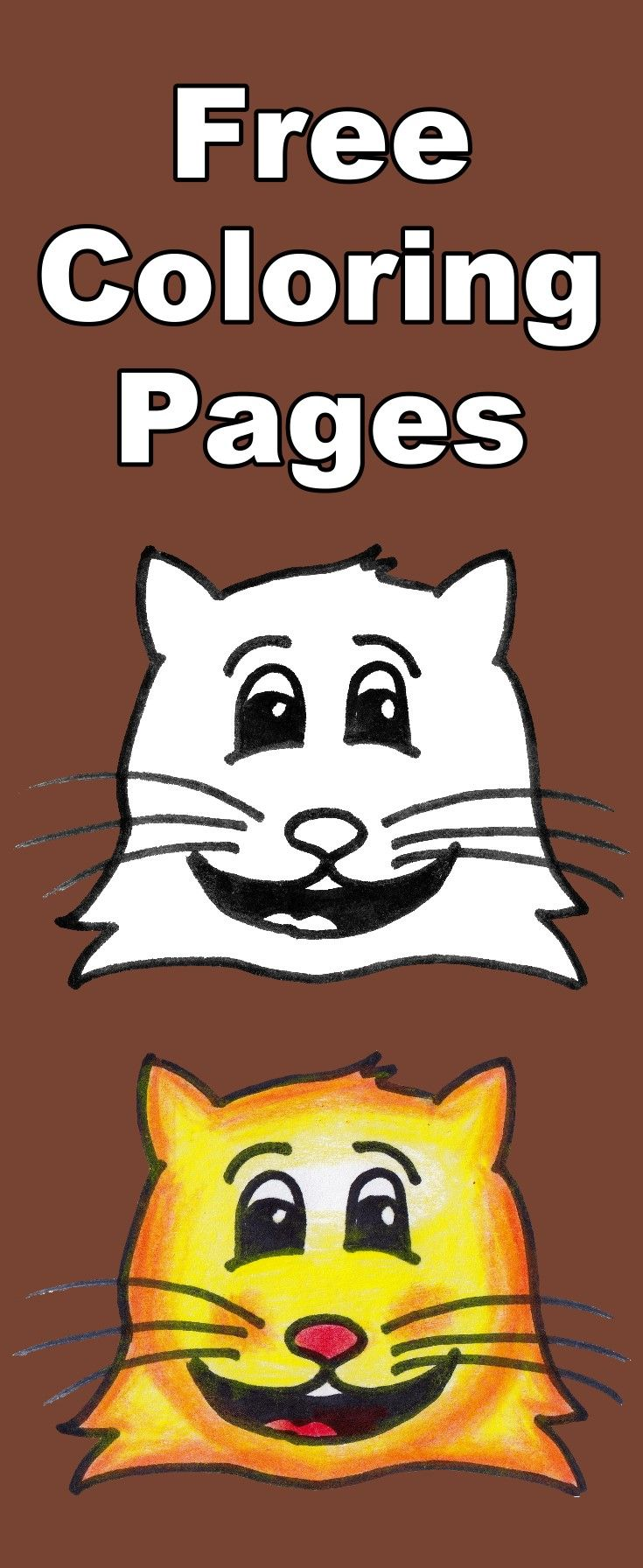 Download this free tabby cat emoji coloring page for kids, then ...