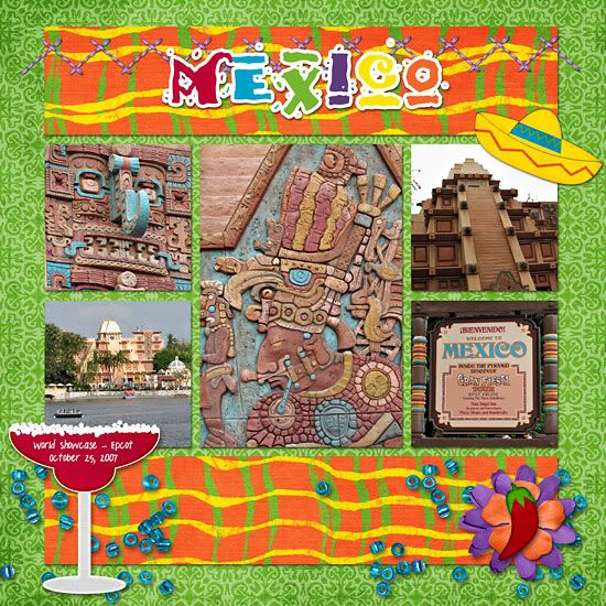 Cute colorful scrapbook layout for mexico in epcot walt