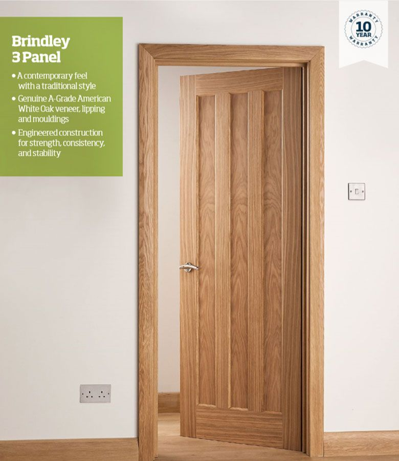 The Brindley Range Of Full Boarded Oak Doors Has A Contemporary Feel To A Traditional Style With Three Ve Wood Doors Interior Internal Oak Doors Doors Interior