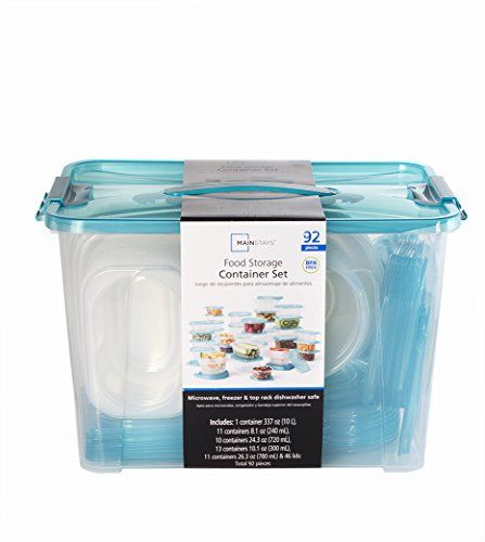 mainstays teal food storage container set 92 pieces