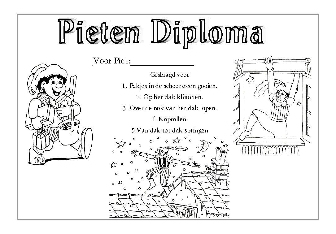 Pieten Diploma Sinterklaas Knutselen Voor Kinderen Voor Kinderen