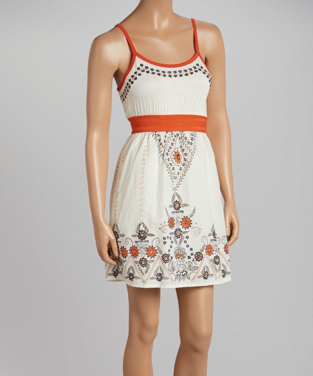Offwhite u rust floral empirewaist dress by aryeh zulily