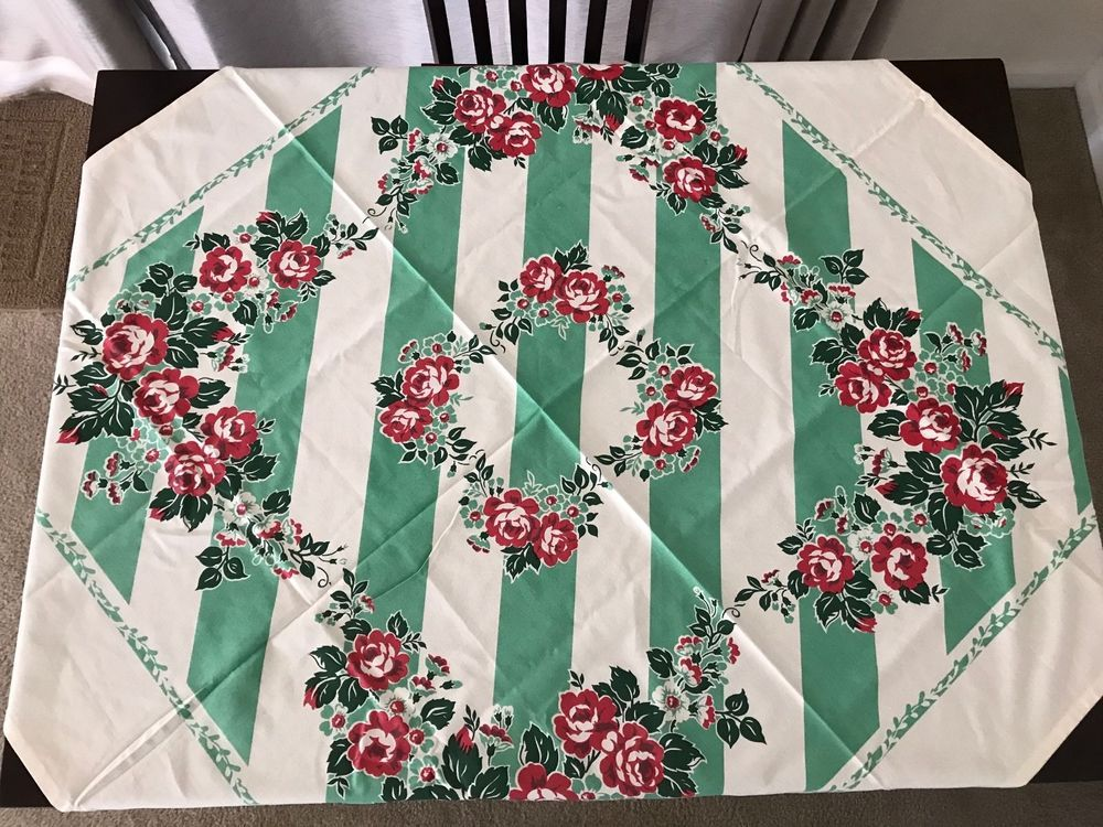 1950 s reproduction moda cottage rose tablecloth & matching bag 52""