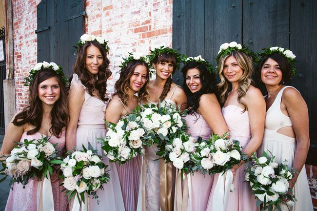 Flower Crowns Blush Tone Dresses And Bountiful Bouquets Make For An Awesome Looking Bridal