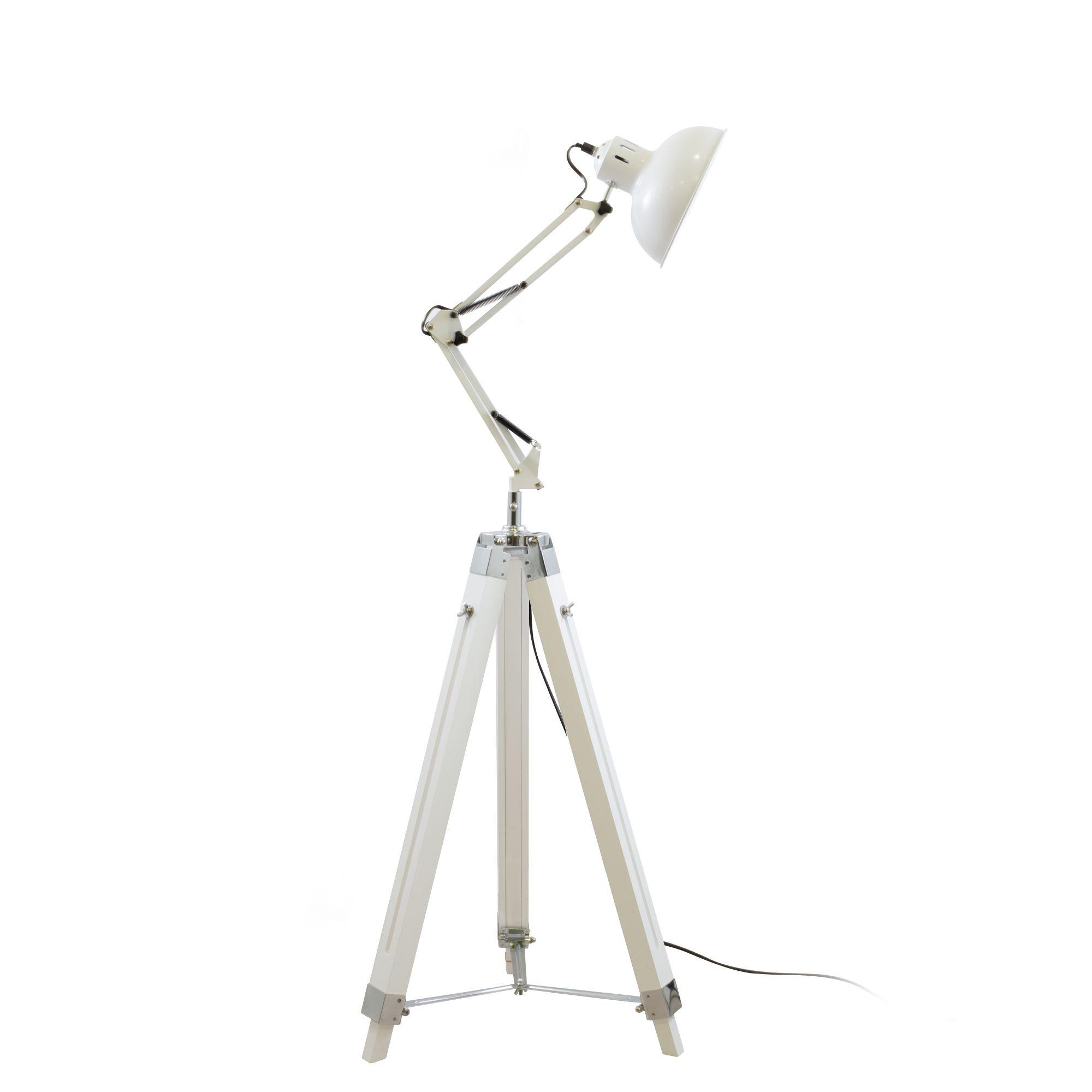 Lampe fice Blanc articulable Mac Andrews bois et métal
